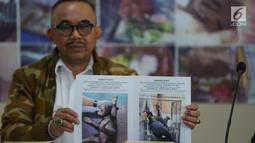 Direktur Pencegahan dan Pengamanan Hutan (PPH) Ditjen Gakkum KLHK Sustyo Iriyono menunjukkan barang bukti saat gelar kasus perdagangan ilegal satwa dilindungi di Gedung Bareskrim Polri, Jakarta, Rabu (7/2/2019). Tiga tersangka MUA, AM, dan KG berhasil diamankan. (merdeka.com/Imam Buhori)