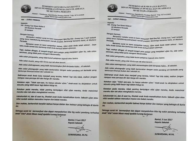 Surat Kepala Sekolah Ini Membuat Orangtua Siswa Merenung