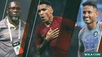 Penyerang Brasil: Jacksen F. Tiago, Beto Goncalves, Wander Luiz (Bola.com/Adreanus Titus)