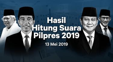 Berikut hasil hitung suara Pemilu 2019 yang sudah masuk di situs pemilu2019.kpu.go.id pada Senin 13 Mei 2019.