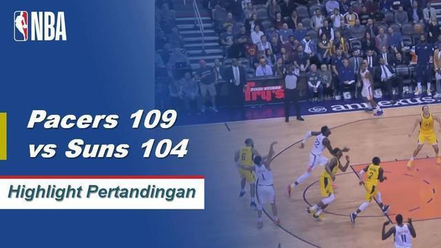 Domantas Sabonis dan Doug McDermott keduanya mencetak 21 poin dari bangku cadangan ketika Indiana Pacers mengambil Phoenix Suns di jalan, 109-104.