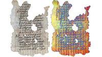 Fragmen selembar palimpsest, yaitu perkamen yang dipakai ulang, menampakan tulisan Yunani (kiri) dengan bekas tulisan lain di bawahnya. Teknologi pencitraan baru mengungkap tulisan yang terhapus (kanan) dari Abad ke-5. (Sumber Greek World Media)