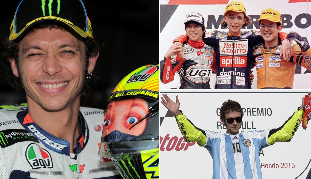 Berikut ini metamorfosis gaya pebalap MotoGP, Valentino Rossi dari masa ke masa. Dirinya merupakan legenda hidup dunia balap motor dengan meraih sembilan gelar juara dunia dengan enam motor berbeda. (Kolase foto-foto dari AFP)