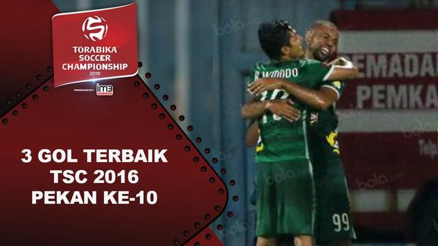 Video 3 gol terbaik Torabika Soccer Championship 2016 pada pekan ke-10.
