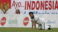 Bek Timnas Indonesia U-22, Rezaldi Hehanussa, saat pertandingan melawan Timor Leste di Stadion MPS, Selangor, Minggu (20/8/2017). Indonesia menang 1-0 atas Timor Leste. (Bola.com/Vitalis Yogi Trisna)
