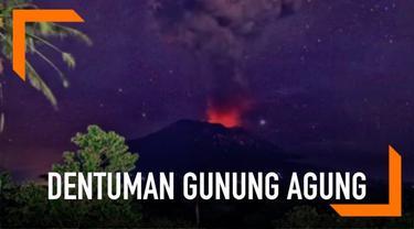 Suara dentuman terdengar saat Gunung Agung erupsi. Fenomena ini terdengar hingga radius 12 km.