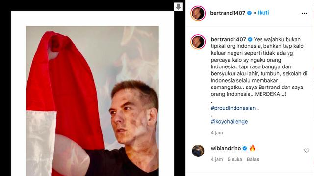 Rayakan HUT ke-76 RI, Bertrand Antolin Mengaku Sering Tidak Dipercaya sebagai Orang Indonesia. (instagram.com/bertrand1407)