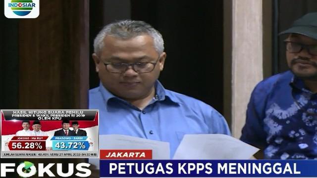 Ketua KPU Arief Budiman mengatakan pihaknya telah berkoordinasi dengan Kemenkeu untuk memberikan santunan.