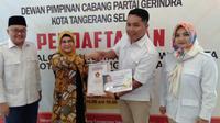Putri Ma'ruf Amin, Siti Nur Azizah mendaftar ke Partai Gerindra untuk mengikuti Pilkada Tangsel.  (Liputan6.com/ Yandhi Deslatama)