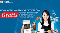 Para pelanggan Tiket.com bisa mendapatkan harga tiket terbaik dengan keuntungan tambahan berupa gratis makan dan minum di bandara