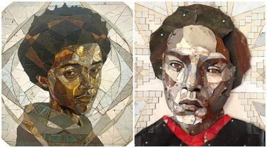 6 Potret Mozaik Wajah dari Kepingan Besi Ini Detailnya Sempurna, Bikin Kagum