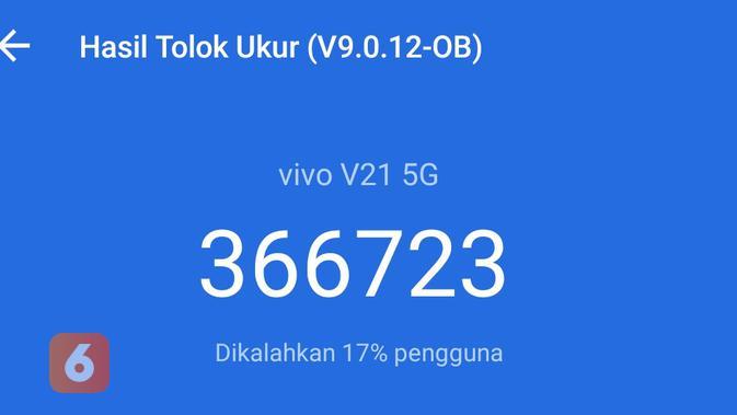 Hasil pengujian benchmark Vivo V21 5G dengan AnTuTu Benchmark (Liputan6.com/ Agustin Setyo W).