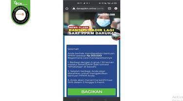 Gambar Tangkapan Layar Kabar Hoaks Cara Mendapatkan Bantuan Dana PPKM dengan Membagikan Pesan WhatsApp.