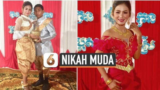 Viral di media sosial, pernikahan dini yang terjadi di Kamboja. Pengantin wanita berusia 21 tahun, sementara pengantin pria berusia 14 tahun.