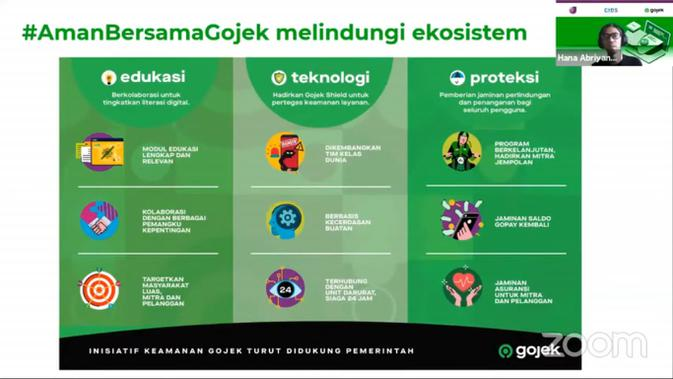 Program bertajuk Aman Bersama Gojek melibatkan tiga pilar: teknologi, edukasi, dan proteksi (Liputan6.com/Luthfie Febrianto)