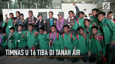 Setelah mengiikuti kejuaraan sepak bola U 16 Jenesys Cup 2018 di Jepang, rombongan tim nasional tiba di Terminal 3 Bandara Soekarno Hatta.
