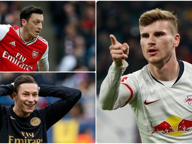 Timo Werner menjadi pemain Jerman dengan transfer termahal saat ini usai dibeli Chelsea seharga 53 juta euro dari RB Leipzig. Berikut Timo Werner dan 5 transfer pemain Jerman termahal sepanjang sejarah. (kolase foto AFP)