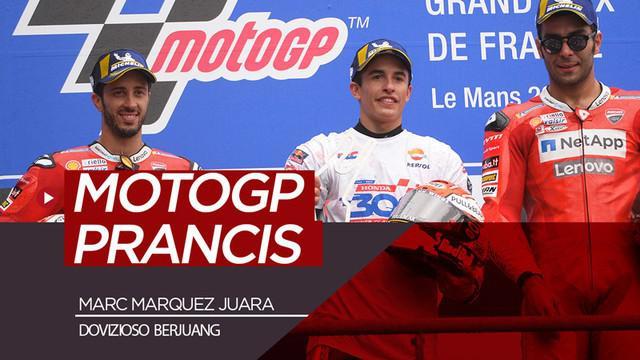 Berita video highlights MotoGP 2019 seri Prancis di mana Marc Marquez menjadi juara dan Andrea Dovizioso harus berjuang untuk meraih posisi kedua.