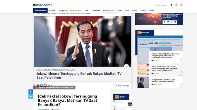 [Cek Fakta] Hoaks Jokowi Tersinggung Masyarakat Matikan TV Saat Pelantikan Presiden