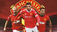 Manchester United - Paul Scholes, Cristiano Ronaldo, Ryan Giggs (Bola.com/Adreanus Titus)