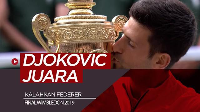 Berita video highlight final tunggal putra Wimbledon 2019, di mana Novak Djokovic menang atas Roger Federer dengan partai 5 set yang berlangsung selama 4 jam 57 menit, Minggu (14/7/2019).