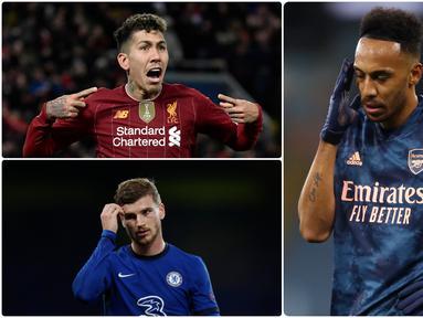Penyerang Arsenal, Pierre-Emerick Aubameyang, seperti hilang ketajamannya dalam mencetak gol hingga pekan ke-10 kompetisi Liga Inggris musim ini. Berikut 5 penyerang tajam Liga Inggris yang performanya melempem di awal musim ini. (kolase foto AFP)