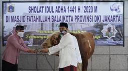 Wakil Gubernur DKI Jakarta Ahmad Riza Patria (kanan) menyerahkan sapi kurban di Balai Kota, Jakarta, Jumat (31/7/2020). Ahmad Riza Patria menyumpangkan sapi limosin dengan berat 1 ton. (Liputan6.com/Immanuel Antonius)