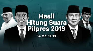 Berikut hasil hitung suara Pemilu 2019 yang sudah masuk di situs pemilu2019.kpu.go.id pada Selasa 14 Mei 2019.