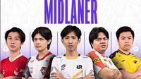 Barisan midlaner hebat di panggung MPL Indonesia Season 8. (FOTO / IG MPL Indonesia)