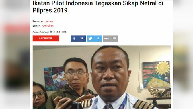[Cek Fakta] Prabowo Subianto Dapat Dukungan Pilpres 2019 dari Ikatan Pilot Indonesia?
