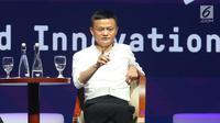 """Pendiri Alibaba Group Jack Ma dalam diskusi panel """"Disrupting Development"""" Pertemuan IMF-Bank Dunia di Nusa Dua, Bali pada Jumat (12/10). Jack Ma mengatakan """"pebisnis tak punya rasa takut, kompetitor yang seharusnya takut"""".Liputan6.com/Angga Yuniar"""
