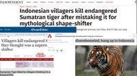 Sejumlah media asing memberitakan harimau ditombak di Mandailing Natal, Sumatra Utara. (Screen Grab)