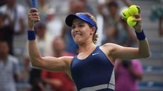 Eugenie Bouchard adalah petenis cantik yang berasal dari  Kanada. Wanita berusia 22 tahun itu kini berada pada peringkat 45 WTA. (AFP/Greg Baker)