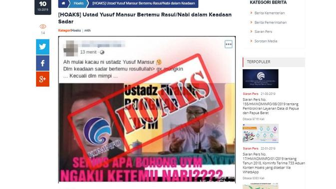 [Cek Fakta] Ustaz Yusuf Mansur Sering Bertemu Rasulullah, Faktanya?