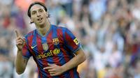 2. Zlatan Ibrahimovic - Meski mampu mencetak 22 gol dalam 46 laga bomber Swedia ini tetap disingkirkan oleh Pep Guardiola. Lepas dari Barca dirinya mampu meraih 17 trophy, mulai dari gelar Serie A hingga Liga Europa. (AFP/Lluis Gene)