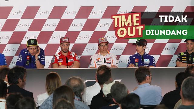 Berita video Time Out kali ini tentang Valentino Rossi dan Marc Marquez yang tak diundang dalam konferensi pers jelang MotoGP AS (Amerika Serikat).