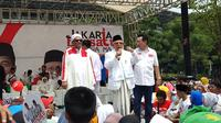 Calon Wakil Presiden KH Ma'ruif Amin saat berkampanye di Senayan. (Liputan6.com/Ady Anugrahadi)
