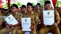 PNS Pemprov Bengkulu meneken Pakta Integritas menjaga moral (Liputan6.com/Yuliardi hardjo Putro)