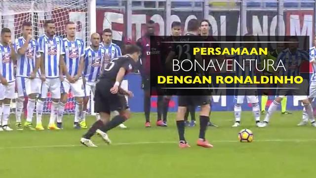 Video persamaan gol tendangan bebas gelandang AC Milan, Giacomo Bonaventura, dengan legenda Brasil, Ronaldinho.
