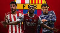 Barcelona - Koke, Pierre-Emerick Aubameyang, Thiago Silva (Bola.com/Adreanus Titus)