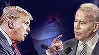 Banner Donald Trump dan Joe Biden (Liputan6.com/Triyasni)