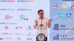 Presdir PT Astra International Prijono Sugiarto memberikan sambutan pada acara groundbreaking Kampus Polman Astra Delta Silicon, Bekasi, (10/5/2019). Kampus yang akan menjadi pengembangan dari kampus Sunter, Jakarta Utara dirancang dengan konsep green campus. (Liputan6.com/HO/Ilham)