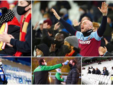Berikut potret suporter Liga Inggris setelah diperbolehkan kembali menyaksikan pertandingan secara langsung di stadion.