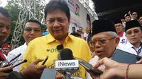 Ketua Umum Partai Golkar Airlangga Hartarto dan cawapres 01 Ma'ruf Amin. (Liputan6.com/Achmad Sudarno)