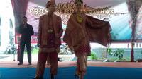 Pakaian Adat Palembang yang menjadi program pelestarian budaya oleh Pemkot Palembang (Liputan6.com / Nefri Inge)