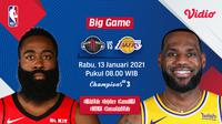 Live streaming NBA big game, Rockets vs Lakers, Rabu (13/1/2021) pukul 08.00 WIB dapat disaksiakan melalui platform Vidio. (Dok. Vidio)