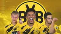 Borussia Dortmund - Erling Haaland, Jadon Sancho, Raphael Guerreiro (Bola.com/Adreanus Titus)