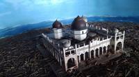 MIniatur Masjid Raya Baiturrahman di Museum Tsunami Aceh (Liputan6.co,/Rino Abonita)