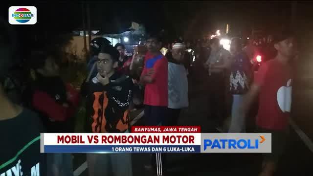 Mobil ini berhenti di kebun warga setelah sebelumnya menabrak rombongan mahasiswa Unsoed Purwokerto.
