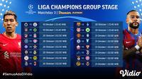 Jadwal dan Live Streaming Liga Champions 2021/2022 Matchday 3 di Vidio. (Sumber : dok. vidio.com)